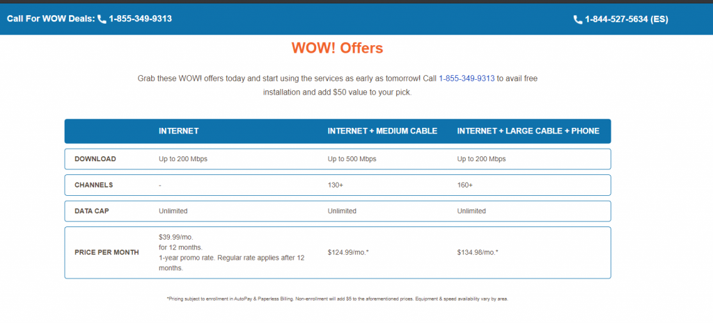 WOW Internet - Packages and Plans - click42